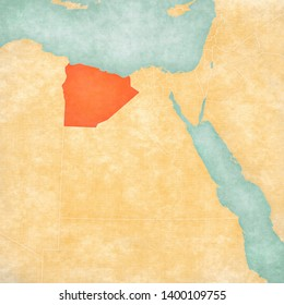 Matrouh Governorate on the map of Egypt in soft grunge and vintage style, like old paper with watercolor painting.