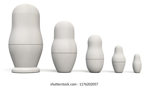 Matryoshka Russian Plain White Nesting Dolls. Russian Traditional Toys. 3D Illustration.