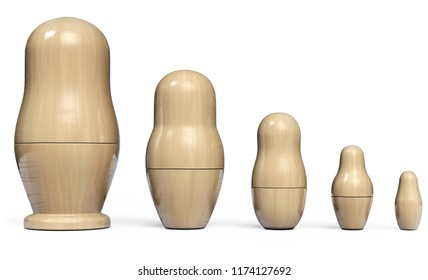 Matryoshka Set of Five Wooden Nesting Dolls. Russian Traditional Toys. 3D Illustration.