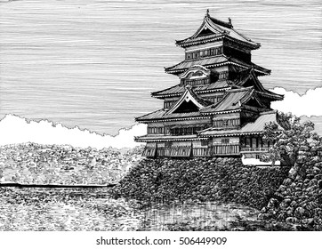 Matsumoto castle in Nagano prefecture, Japan. Stone base castle surrounded by a moat. The traditional Japanese castle and bridge view. Black and white line art, draw with pen and ink.