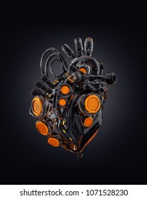 Matte black with gold robotic heart, sci-fi replacement organ, 3d rendering on dark background