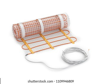 Matte electrical floor heating system with cable. 3d illustration
