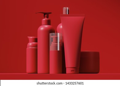 Matte, red cosmetic set of body and face care products standing on the table in the studio. Empty plastic containers of cream, lotion, gel, shampoo. Mock up. 3d rendering