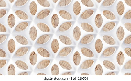 Matte white body shape with perforated protuberances and depressions on a wooden background. High-quality 3d-texture.