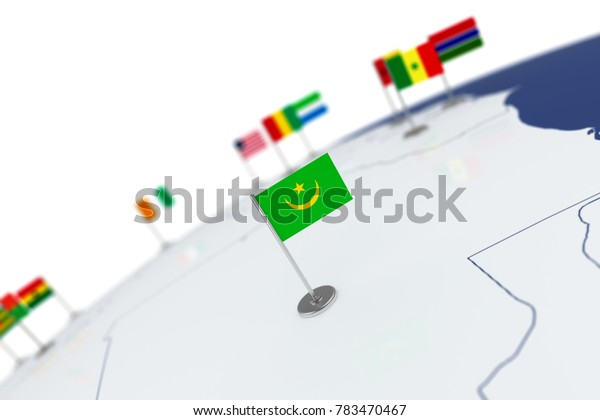 Mauritania flag. Country flag with chrome flagpole on the world map with neighbors countries borders. 3d illustration rendering flag
