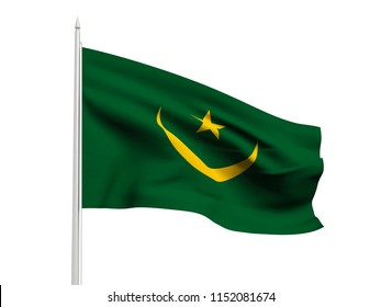 Mauritania flag floating in the wind with a White sky background. 3D illustration.