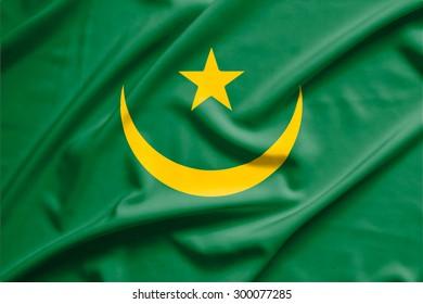 Mauritania flag on soft and smooth silk texture