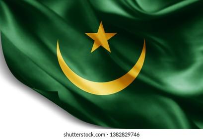 Mauritania flag of silk-3D illustration