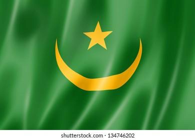 Mauritania flag, three dimensional render, satin texture