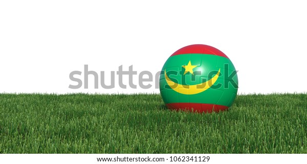 Mauritania Mauritanian flag soccer ball lying in grass, isolated on white background. 3D Rendering, Illustration.