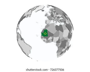 Mauritania on political globe with embedded flags. 3D illustration isolated on white background.