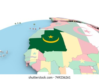 Mauritania on political globe with embedded flags. 3D illustration.
