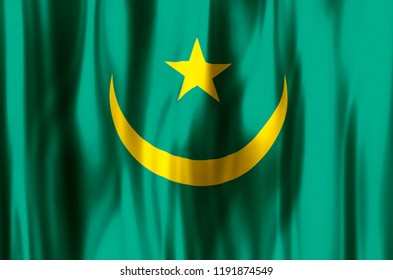 Mauritania stylish waving and closeup flag illustration. Perfect for background or texture purposes.