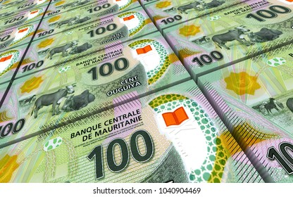 Mauritanian ouguiya bills stacks background. 3D illustration.