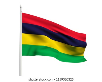 Mauritius flag floating in the wind with a White sky background. 3D illustration.