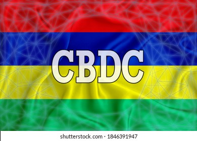 Mauritius flag with the inscription CBDC (Central Bank Digital Currency) and a blockchain grid around. Graphic concept for your design. 3d rendering