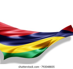 Mauritius  flag of silk with copyspace for your text or images and white background -3D illustration