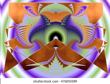 mauve colored tribute to kandisnsky, symmetrical composition, kaleidoscopic, mirror effect, geometric composition of silver and brown colors,