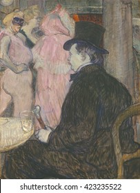Maxime Dethomas, by Henri de Toulouse-Lautrec, 1896, French Post-Impressionism painting, oil on cardboard. Dethomas, a famous director of costume design and theatrical scenery, was a close friend of