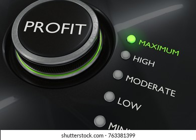 Maximum profit concept. Button for maximize income. 3D rendered illustration.
