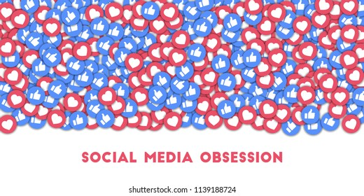 MAY 01, 2018: Social media obsession. Social media icons in abstract shape background with scattered thumbs up and hearts. Social media obsession concept in good-looking illustration.