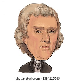 May 11, 2019 Caricature of Former President of The United States Thomas Jefferson an Portrait Drawing Illustration.