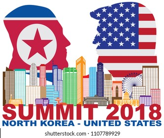 MAY 14, 2018: President Donald Trump and Kim Jong Un with USA and North Korea Flags Summit 2018 Singapore city skyline Illustration.  Summit June 2018 between USA and North Korea leaders in Singapore