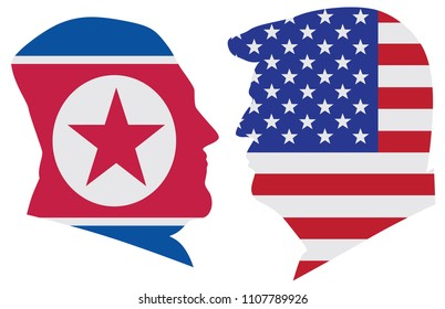 MAY 14, 2018: US President Donald Trump and Kim Jong Un silhouettes with United States America  and North Korea Flags Illustration. Summit June 2018 between USA and North Korea leaders in Singapore