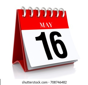 May 16. Calendar on white background. 3D illustration.