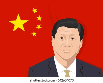 May 18, 2017: editorial illustration of Xi Jinping portrait - the General Secretary of the Communist Party of China, the President of the People's Republic of China - on Chinese flag background.