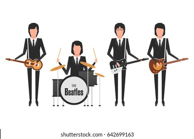 May 18, 2017: editorial illustration of the Beatles which members are playing musical instruments on white background. World Beatles Day on January 16 topic.