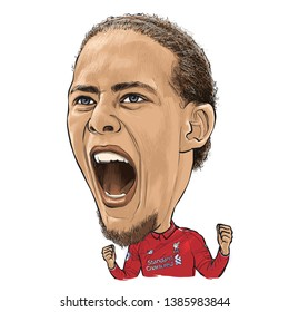 May 2, 2019 Caricature of Virgil van Dijk an professional footballer.