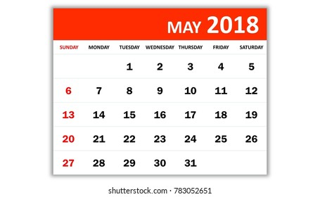 May 2018. Monthly calendar 2018 year in simple style design. Week starts from Sunday.