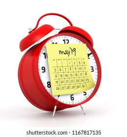 May 2019 Calendar with alarm clock. Isolated on White Background. 3D Illustration