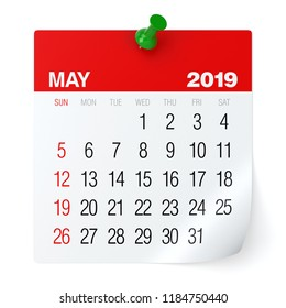May 2019 - Calendar. Isolated on White Background. 3D Illustration