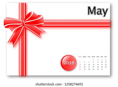 May 2019 - Calendar series with gift ribbon design
