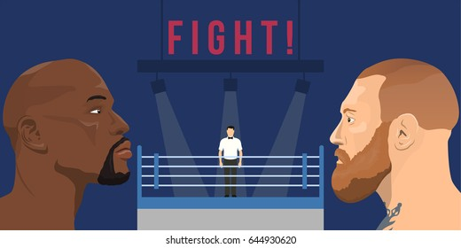 May 22, 2017: illustration of Conor McGregor - an Irish professional MMA fighter and Floyd Mayweather Jr. - an american professional boxer and boxing promoter on boxing ring background.