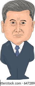 May 24, 2017: Watercolor style illustration of Petro Poroshenko, President of Ukraine viewed from front set on isolated white background done in cartoon caricature style.