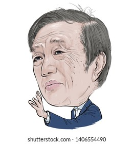 May 25, 2019 Caricature of Ren Zhengfei CEO Huawei businessman Millionaire Portrait Drawing Illustration.