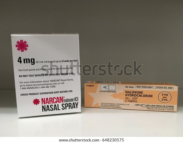 May 26, 2017-ogden Utah USA: naloxone and narcan nasal sprays are now available over the counter to prevent drug overdoses.