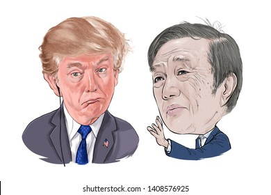 May 27, 2019 Caricature of President of the United States Donald Trump, Ren Zhengfei CEO Huawei businessman Millionaire Portrait Drawing Illustration.