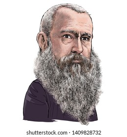 May 29, 2019 Caricature of Oscar-Claude Monet, Claude Monet was a Impressionism, Painter, Artist Portrait Drawing  Illustration.