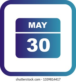 May 30th Date on a Single Day Calendar