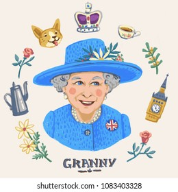 MAY 4 2018 ENGLAND: Her Royal Highness Queen Elizabeth II. Elizabeth II Elizabeth Alexandra Mary , Queen of the United Kingdom, Canada, Australia, and New Zealand, editorial illustration