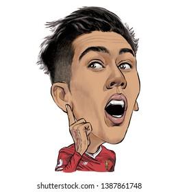 May 4, 2019 Caricature of Roberto Firmino Barbosa de Oliveira an professional footballer.