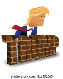 MAY 6, 2016: Illustrative editorial cartoon of Donald Trump behind a brick wall.