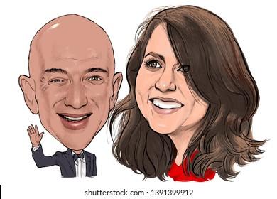 May 8, 2019 Caricature of Jeff Bezos CEO Amazon businessman Millionaire, MacKenzie Bezos novelist Portrait Drawing Illustration.