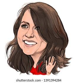 May 8, 2019 Caricature of MacKenzie Bezos, Novelist, Millionaire Portrait Drawing Illustration.