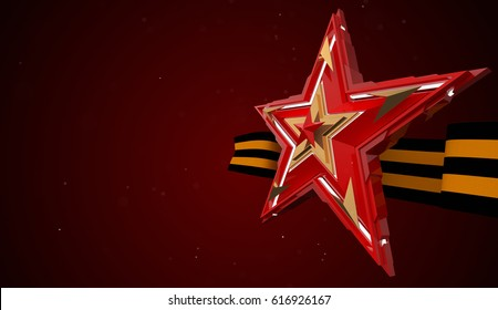 May 9 russian holiday victory. Red star and ribbon of Saint George 3d