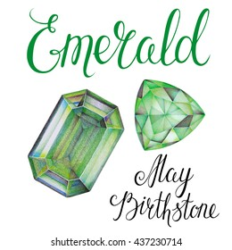 May birthstone Emerald isolated on white background. Close up illustration of gems drawn by hand with colored pencils. Realistic faceted stones.